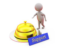 3d man ring support bell concept Royalty Free Stock Images