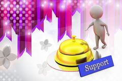 3d man ring support bell illustration Stock Image