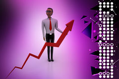 3d man with rising arrow Royalty Free Stock Images