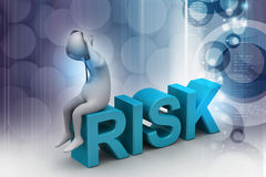 3d man in risk problem. In color background Stock Photo
