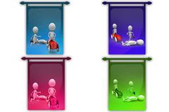3D Man road accident concept icon Royalty Free Stock Photo