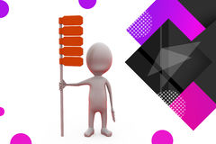 3d man with road board illustration Royalty Free Stock Photo