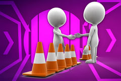 3d man and road cone illustration Stock Photos