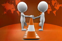 3d man and road cone illustration Stock Photo
