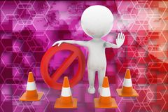 3d man road cone stop Royalty Free Stock Photography