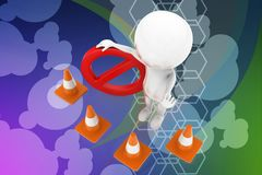 3d man road cone stop Royalty Free Stock Image