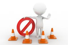 3d man road cone stop Royalty Free Stock Photos
