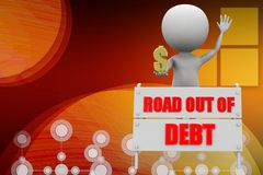 3d man road out of debt illustration Stock Photos