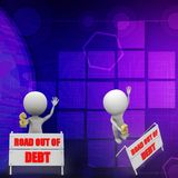 3d man road out of debt illustration Royalty Free Stock Photo