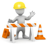 3d Man at road works Stock Photo