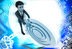 3d man rolling  abstract target board illustration Royalty Free Stock Photo