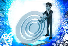 3d man rolling  abstract target board illustration Stock Image