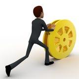 3d man rolling golden film reel concept Royalty Free Stock Photos