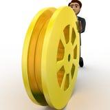 3d man rolling golden film reel concept Stock Photography