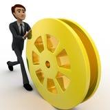 3d man rolling golden film reel concept Stock Photo