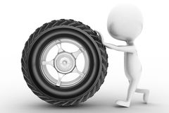 3d man rolling tyre Stock Photo