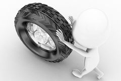 3d man rolling tyre Royalty Free Stock Photo