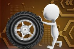 3d man rolling tyre illustration Stock Photography
