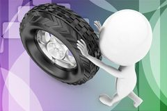 3d man rolling tyre illustration Stock Image