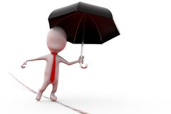 3d man on rope with umbrella concept Stock Photography