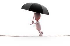 3d man on rope with umbrella concept Stock Photo