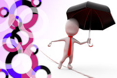 3d man on rope with umbrella illustration Royalty Free Stock Image