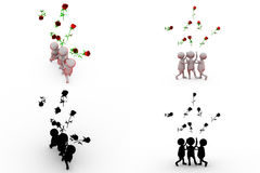 3d man with rose concept collections with alpha and shadow channel Stock Photos