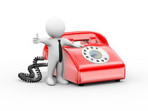 3d man with rotary phone thumb up Royalty Free Stock Image
