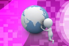 3d man rotating earth illustration Stock Photo