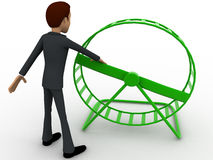 3d man rotating small spin wheel concept Royalty Free Stock Photos