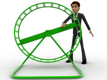 3d man rotating small spin wheel concept Stock Photo