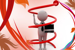 3d man round arrow up illustration Royalty Free Stock Photo