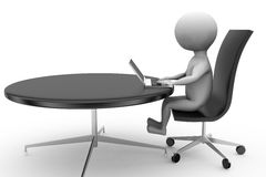 3d man with round office table concept Stock Photos