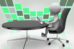 3d man with round office table illustration Royalty Free Stock Photos