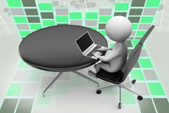 3d man with round office table illustration Stock Photo