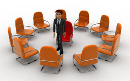 3d man in round place chairs concept Royalty Free Stock Photos
