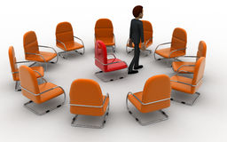 3d man in round place chairs concept Stock Photo
