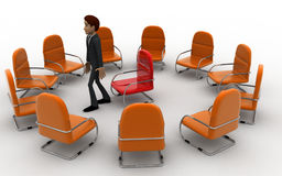 3d man in round place chairs concept Royalty Free Stock Photo