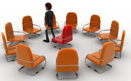 3d man in round place chairs concept Stock Image