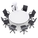 3d man at the round table. Seven empty chairs Royalty Free Stock Image