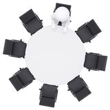 3d man at the round table. Seven empty chairs Stock Photos