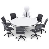3d man at the round table. Seven empty chairs Stock Images