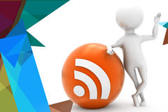 3d man rss feed illustration Stock Photography