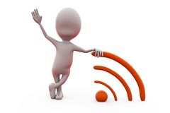 3d man RSS feeds concept Royalty Free Stock Photography