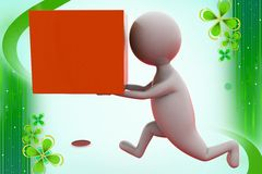 3d man run with box  illustration Royalty Free Stock Photo