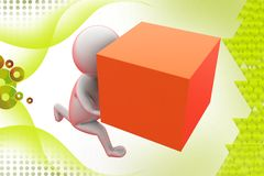 3d man run with box  illustration Stock Photography