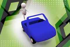 3d man run after car  illustration Royalty Free Stock Image