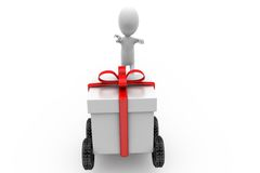 3d man run gift concept Royalty Free Stock Image