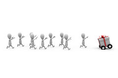 3d man run after gift concept Stock Photography