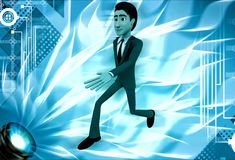 3d man run in hurry illustration Royalty Free Stock Image
